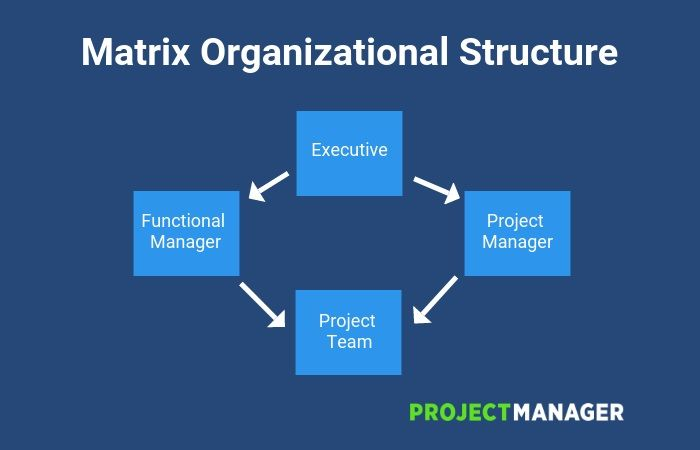 diagram illustrating what matrix organizational structure is MBA