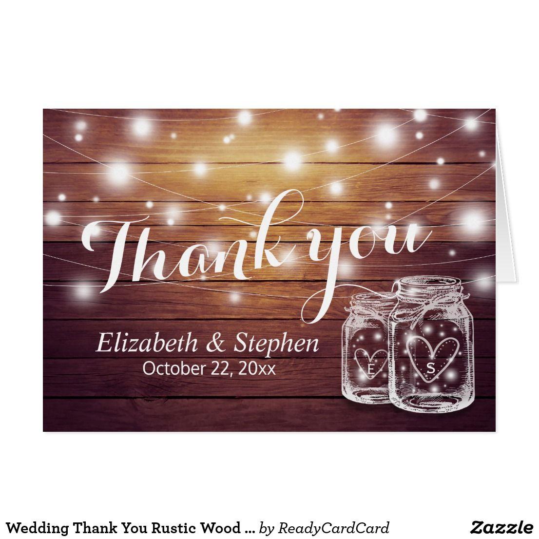 free templates for wedding response cards%0A Wedding Thank You Rustic Wood Mason Jar Lights Card Wedding Thank You Card  Templates  Elegant
