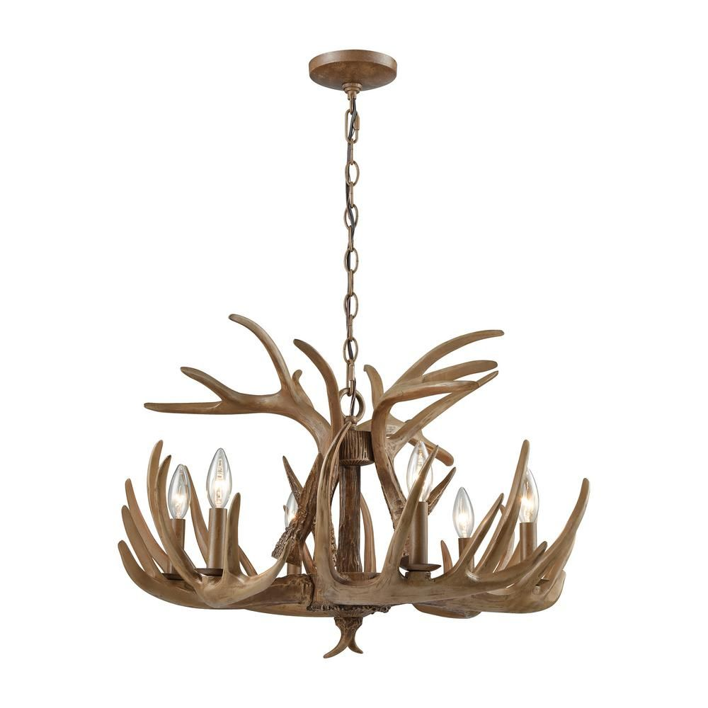 Titan lighting elk 6 light wood brown chandelier brown titan lighting elk 6 light wood brown chandelier mozeypictures Image collections
