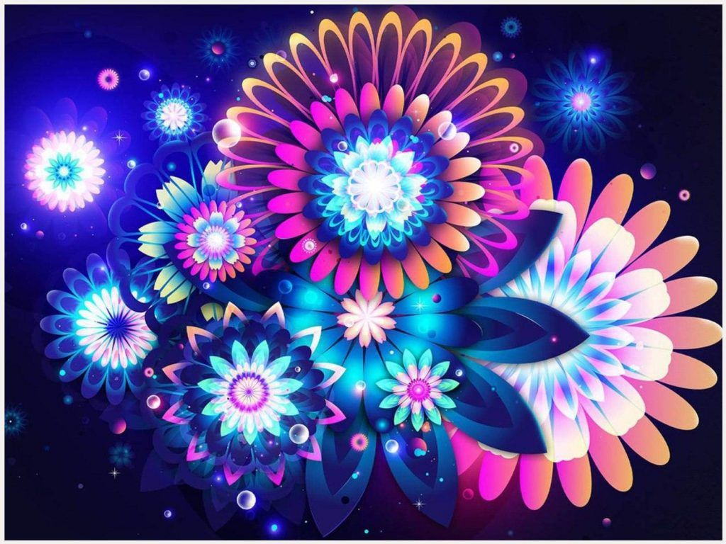 Colorful Abstract Flowers Wallpaper