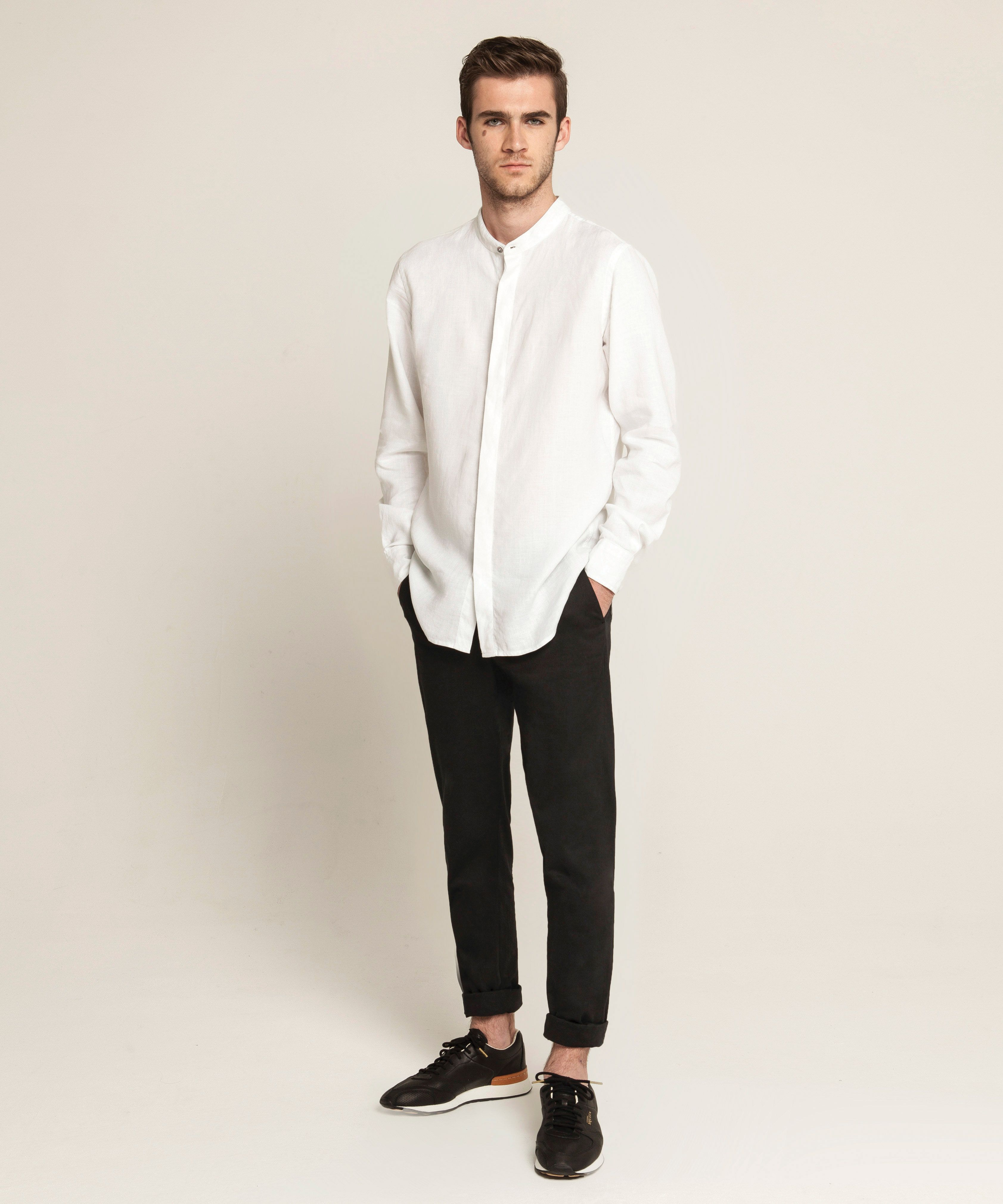 e003b6120725c3 Linen Band Collar Shirt - White, Tailored Chino - Black | Shirts ...