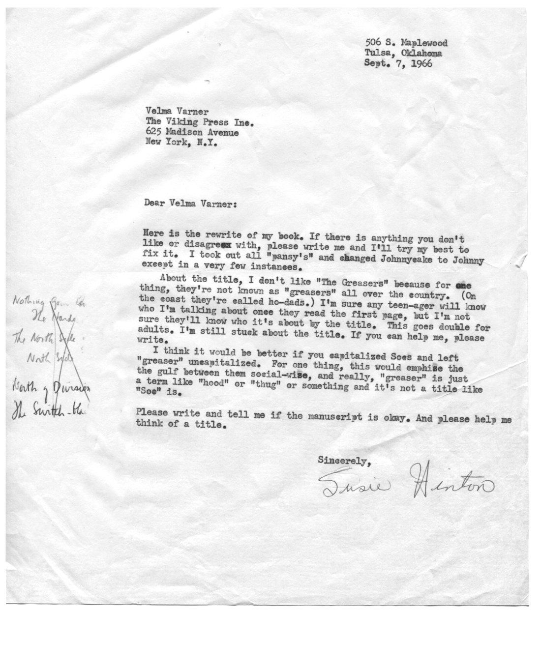 Read SE HintonS  Letter To Her Editor About What To Call