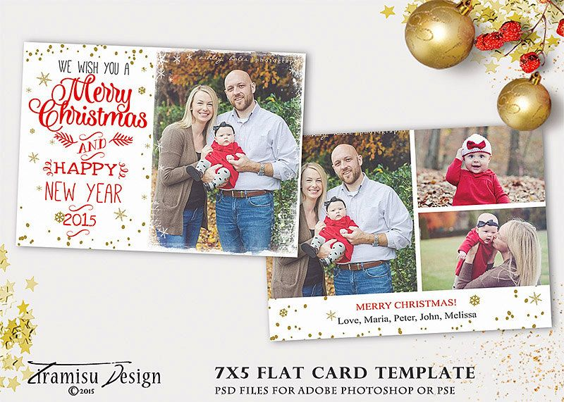 Christmas Card Template 7x5in Holiday Card Adobe Photoshop Psd Template Instant Download Sku Xm15 2 Christmas Card Template Card Template Holiday Cards