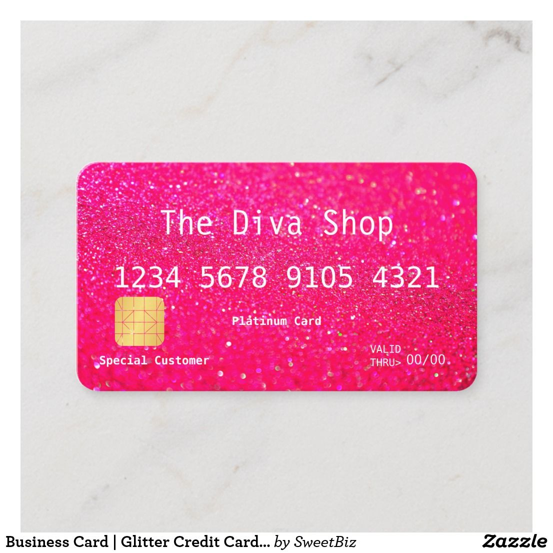 Business Card Glitter Credit Card Pink
