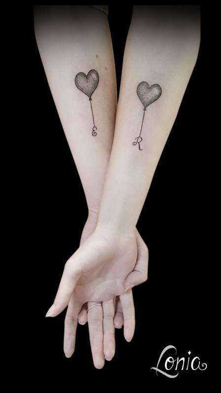 Tatouage Lonia Tattoo Ballon Ballons Initiales Tatouage Soeurs