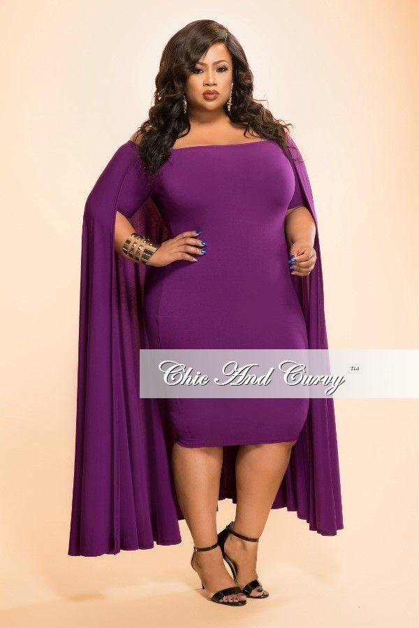 New Plus Size Bodycon Off The Shoulder Cape Dress In Dark Purple