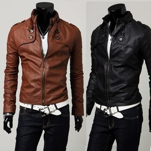 Casual men's jackets pu leather jacket waterproof high neck slim ...