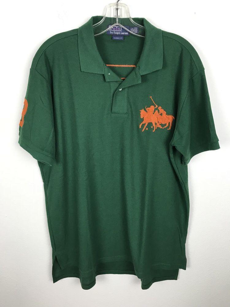 ecf554d5 Vintage Ralph Lauren Polo Shirt Adult 2XL XXL Green Orange Big Pony Rugby 3  Mens #RalphLauren #PoloRugby