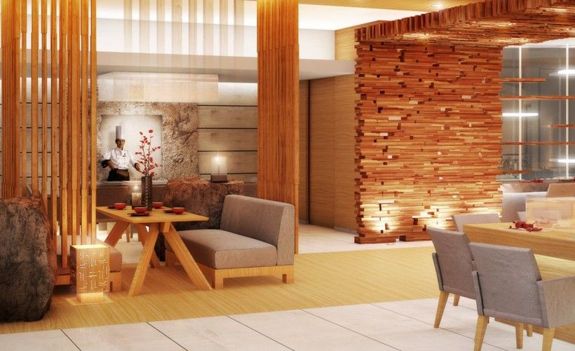Delightful Interior : Brown Textured Wooden Wall Grey Modern Farbric Bench Wooden  Pillar Grey Dining Chairs Rectangle
