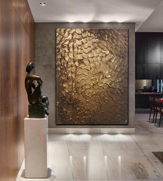 Photo of Original Modern Heavy Texture Carved Sculpture Floral Gold Modern Metallic Oil Painting, Home Decor Artwork.