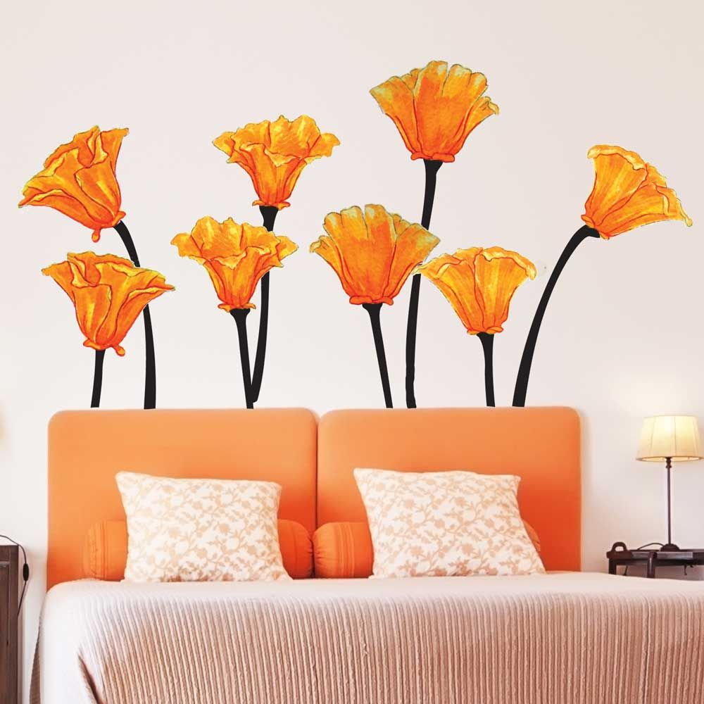 California Poppies Watercolor Wall Decal Set California Poppy