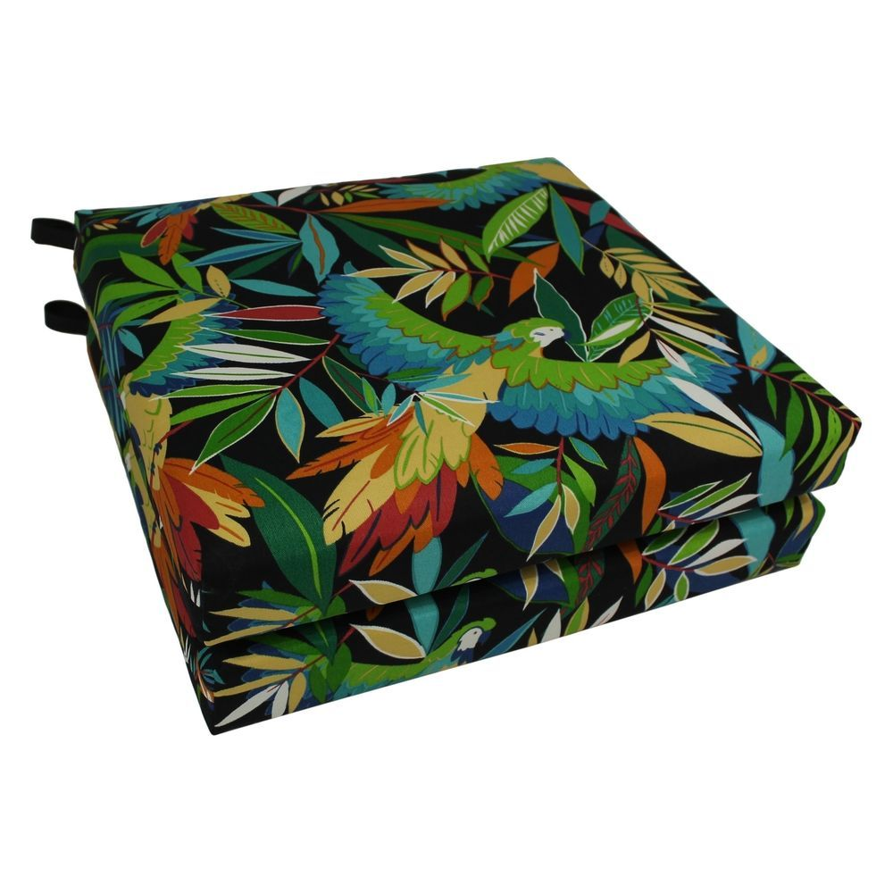 Patio Chair Cushion Set 2 Piece Tropical Print Furniture Pad Outdoor