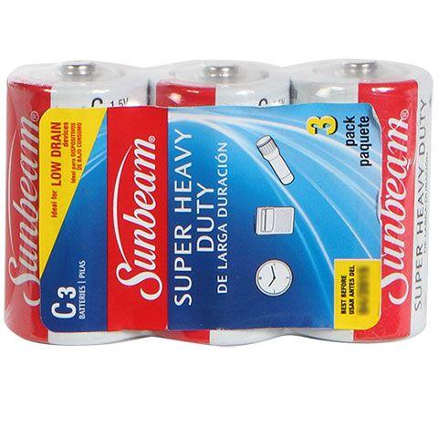 Bulk Sunbeam Super Heavy Duty C Cell Batteries 3 Ct Packs At Dollartree Com Sunbeam Heavy Duty Heavy