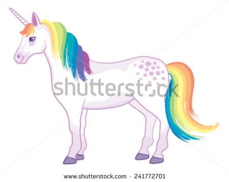 A Cartoon Unicorn With Rainbow Mane And Tail Standing Still