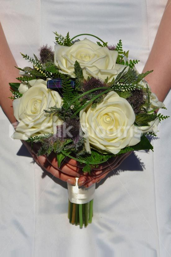 Shop Scottish Fresh Touch Ivory Rose Bridal Bouquet With Thistles
