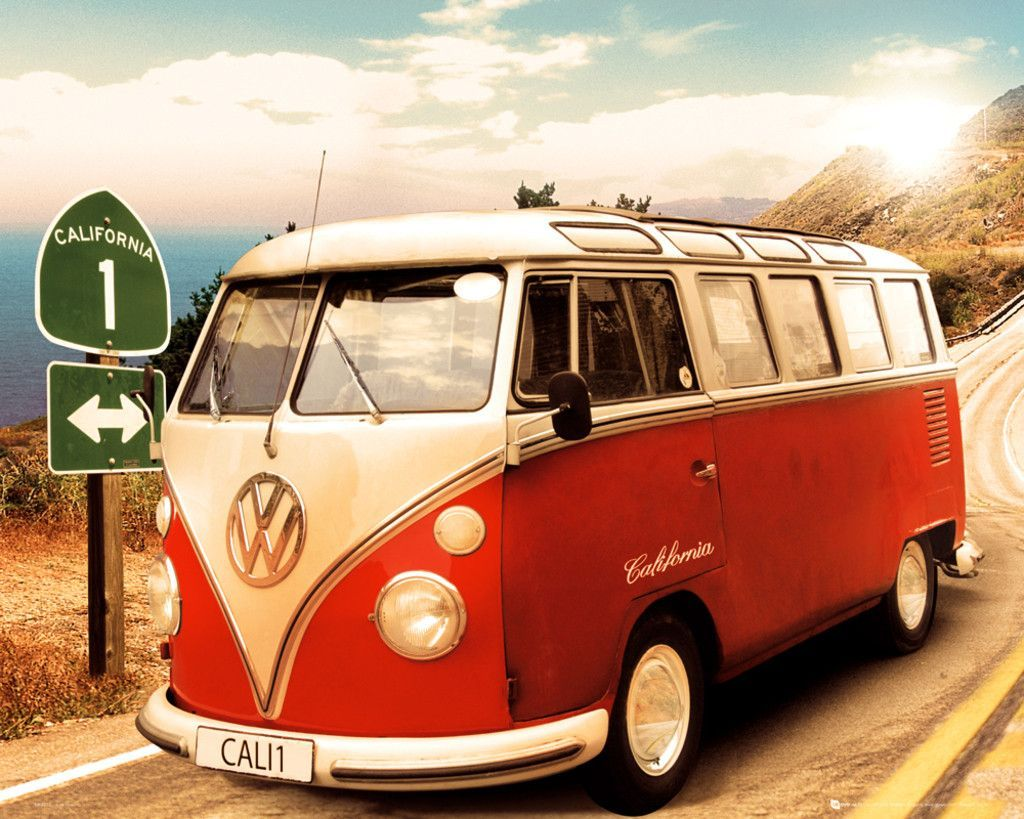 Vw camper route 1 official mini poster http vwbeetlebugforsale blogspot