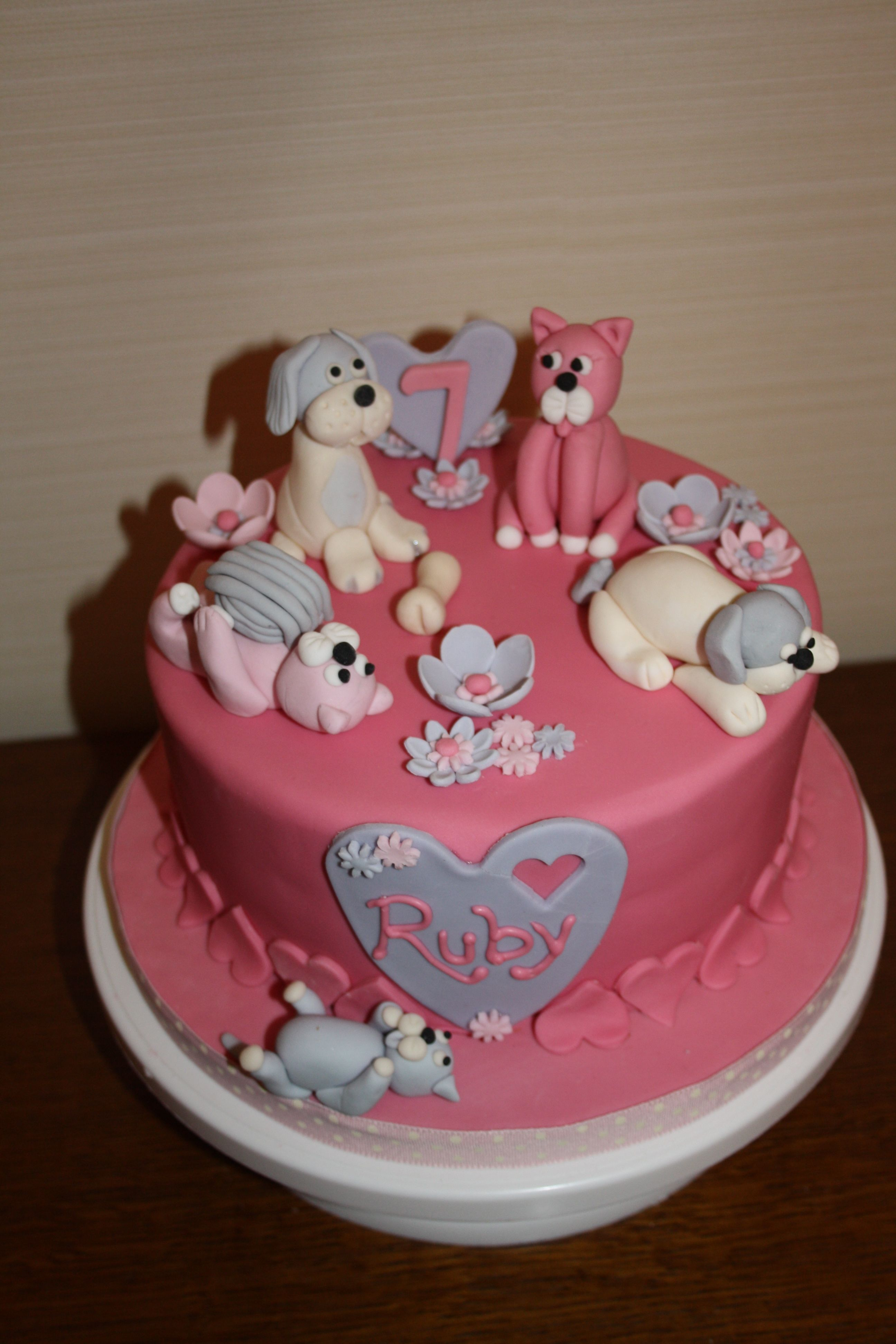 A Birthday Cake For A Very Cute 7 Year Old Who Loves Dogs Cats