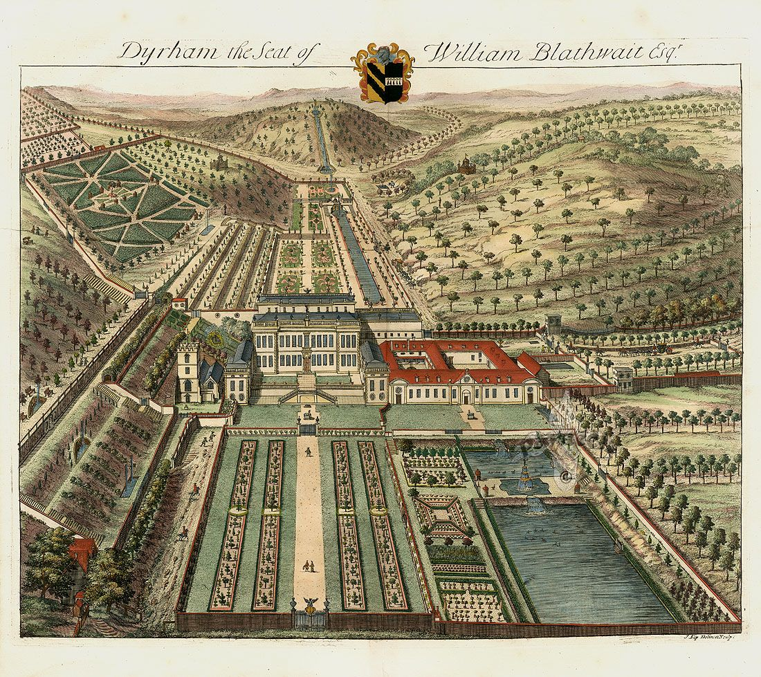Antique Prints of Architecture by Johannes Kip from The Ancient – Antique Garden Plans