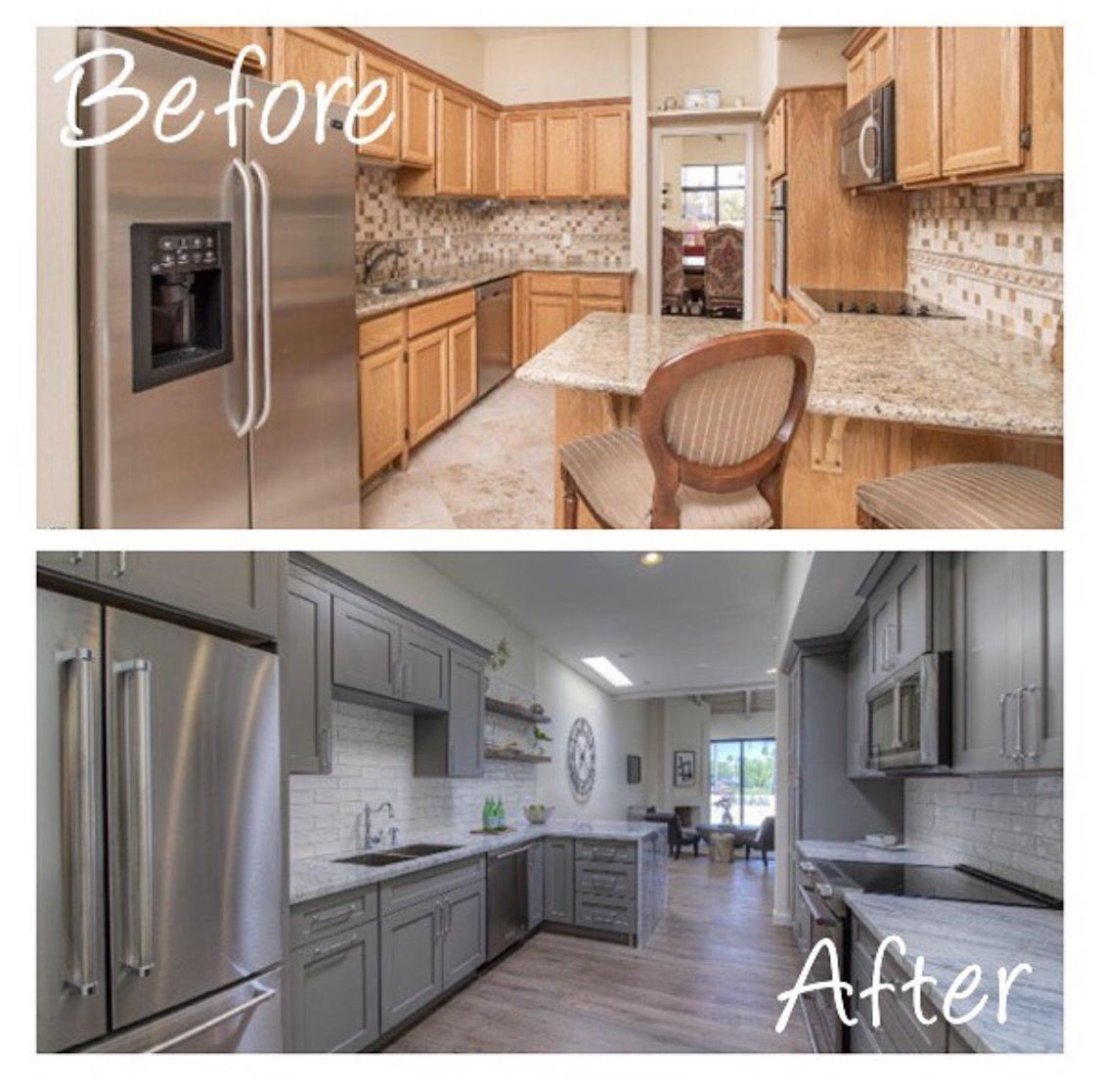 Removing Partial Wall In A Galley Kitchen Makes All The Difference Opens It Up Makes It Look Bi Galley Kitchen Remodel Home Kitchens Kitchen Counter Cabinet