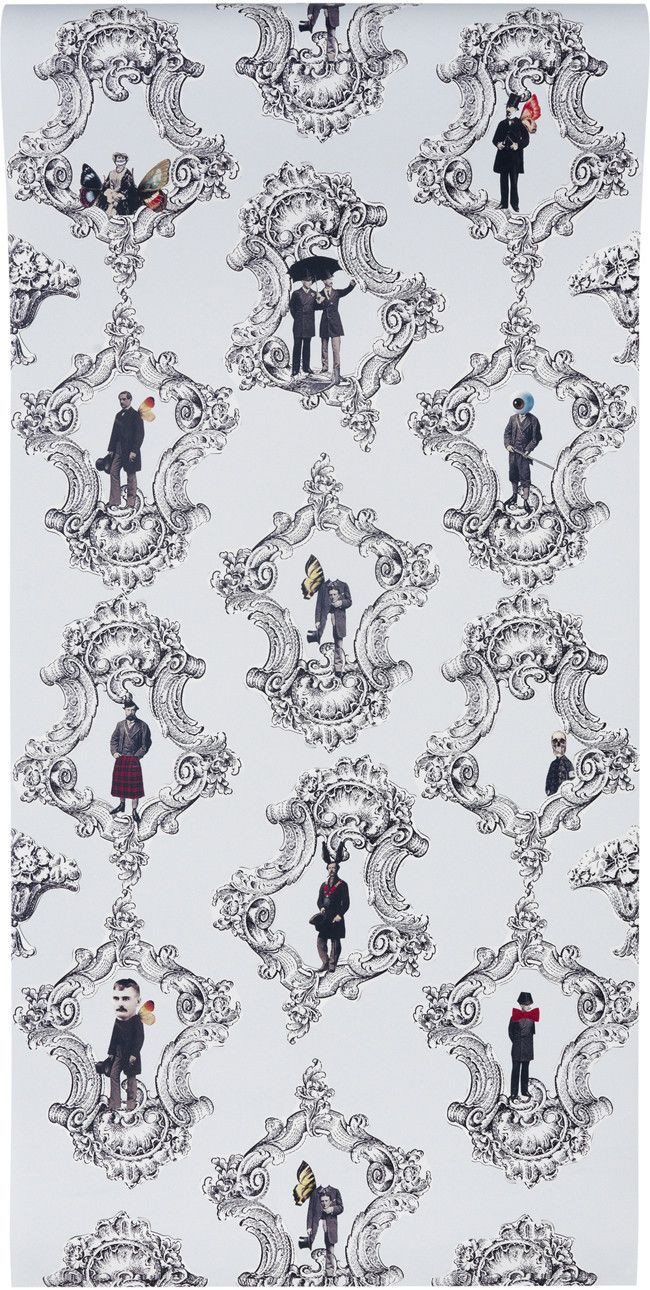 Gentlemens wallpaper in blue graduate collection paint and