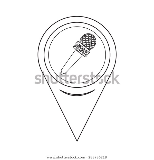 Map Pointer News Microphone Icon Stock Vector (Royalty