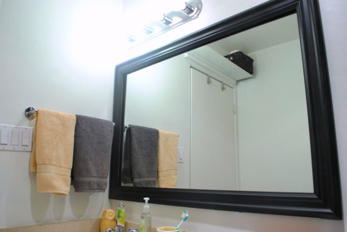 Cheap, easy mirror frame for bathroom Crap for the house