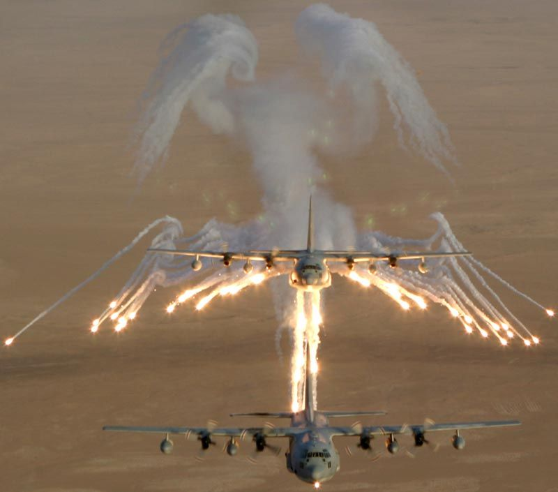 """When a large plane, such as the AC-130, jettisons flares they leave a smoke trail that resembles wings. Pilots have come to call these """"Angel Wings."""" Because, you know, not getting blown up is always nice."""