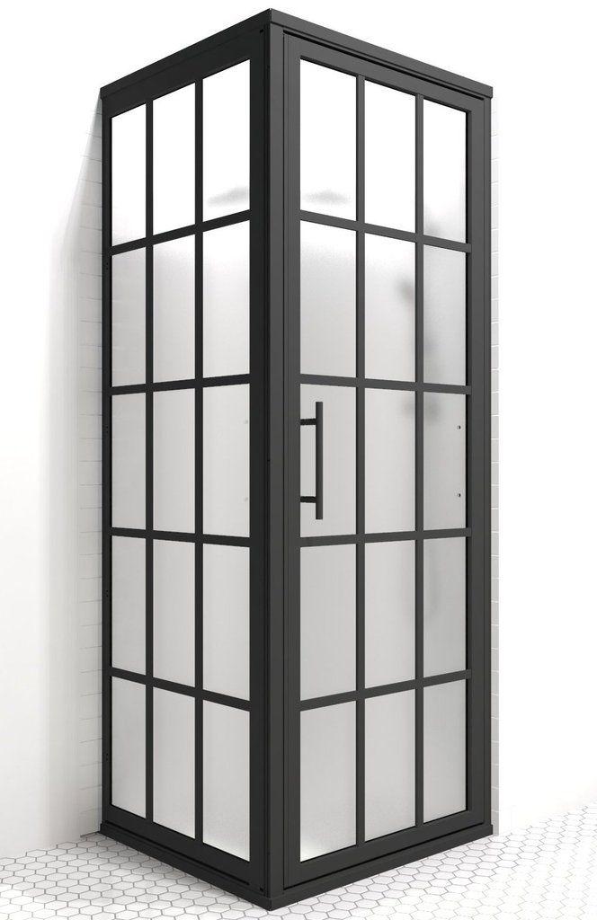 Grid shower door one level wet room