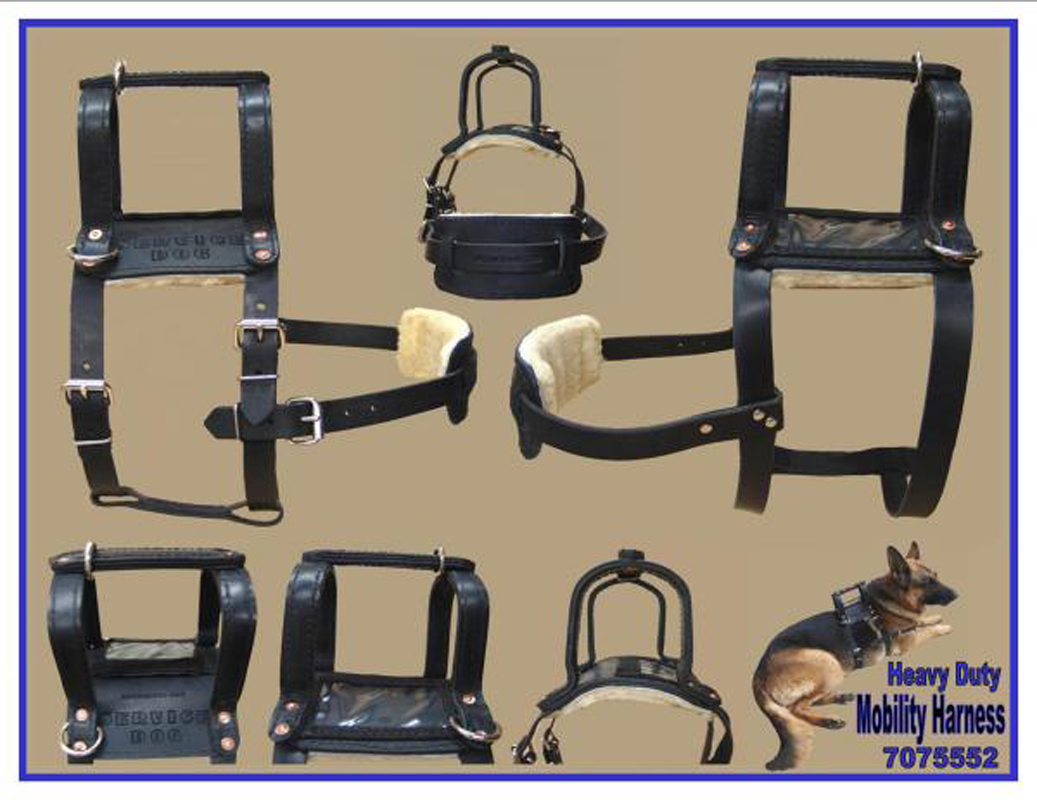 Heavy Duty Leather Mobility Harness Service dogs gear