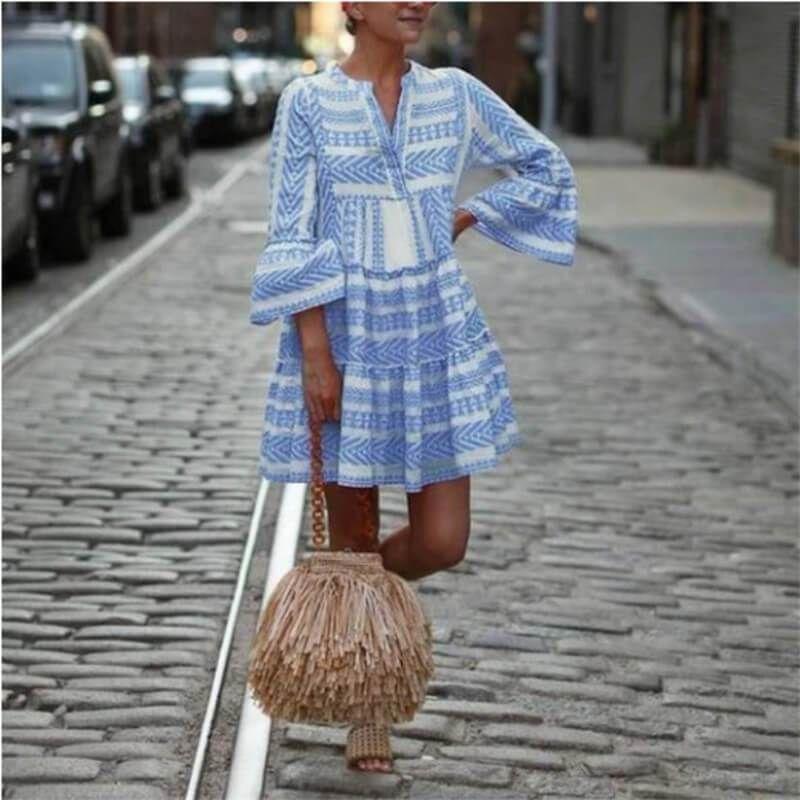 Photo of Mini Striped Boho Dress with a  Flare Sleeve – Blue / M