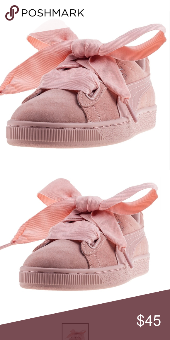Puma women suede pink big lace bow in