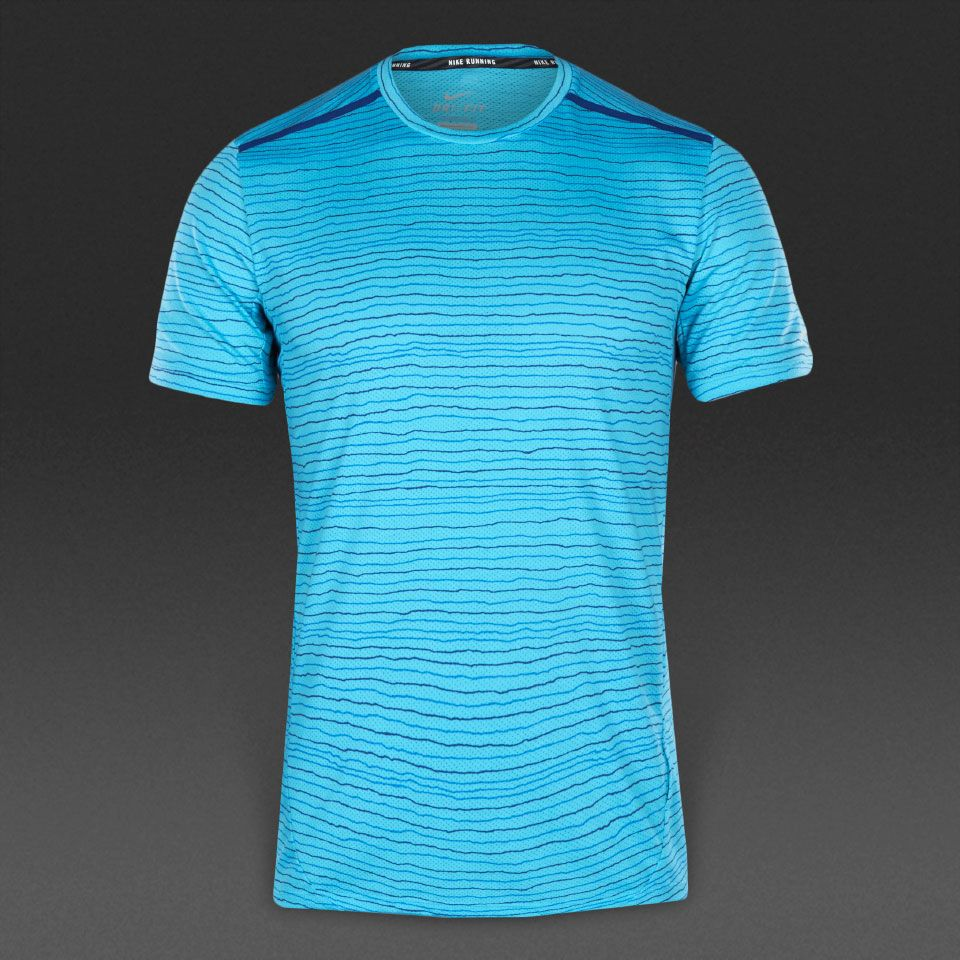 Nike Dri-Fit Cool Tailwind Stripe Short Sleeve - Mens Clothing - Omega Blue/Reflective  Silver