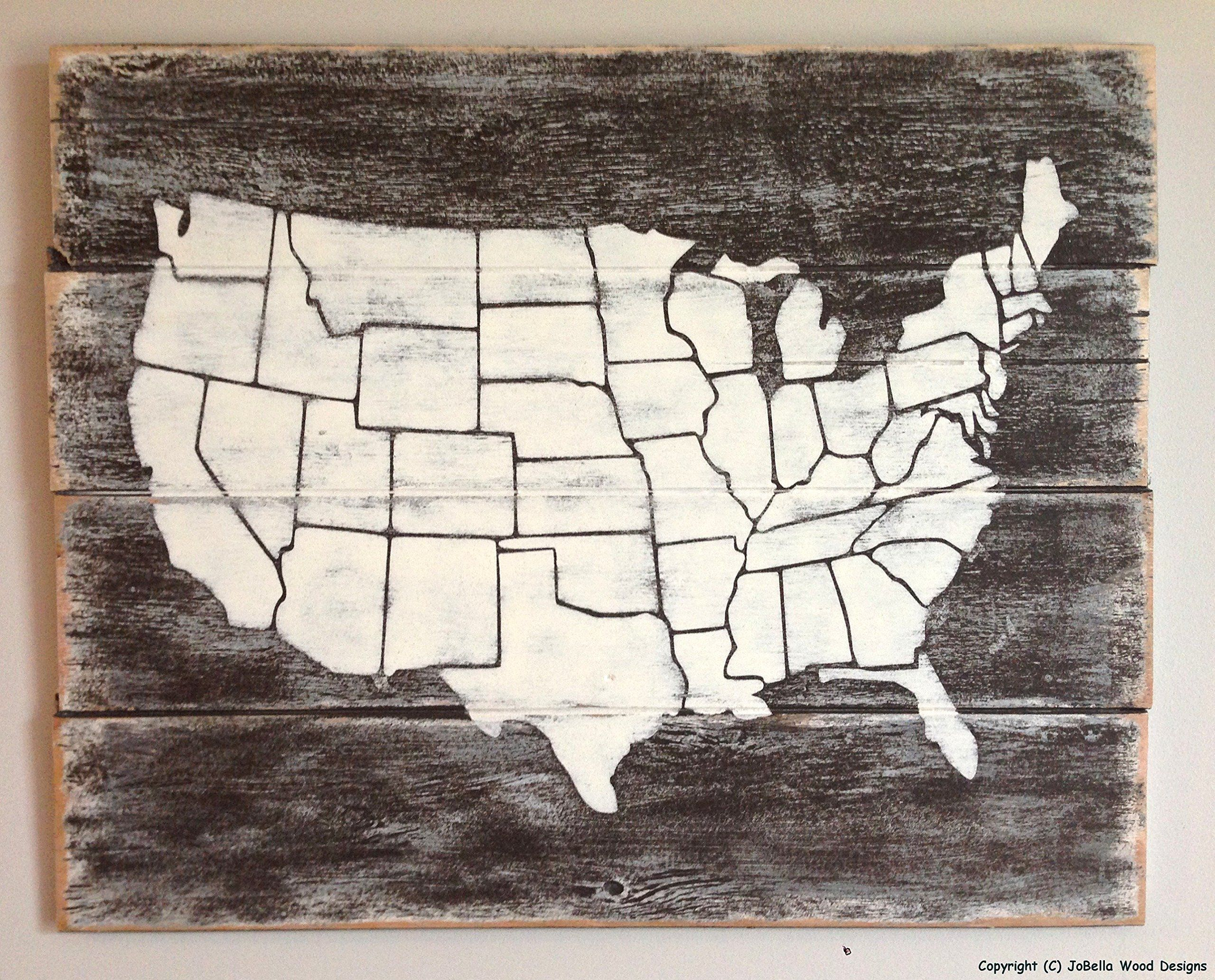 distressed united states map w/state borders wood painting - goes