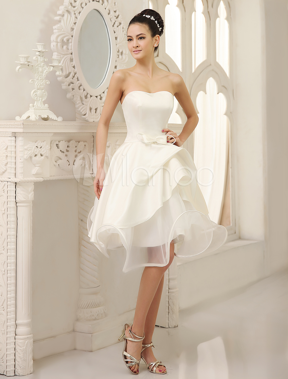 Ivory Wedding Dress Strapless Pleated Satin Wedding Gown