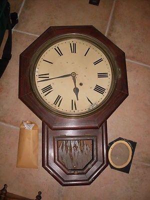 Antique Seth Thomas Octagonal Schoolhouse Wall Regulator Clock
