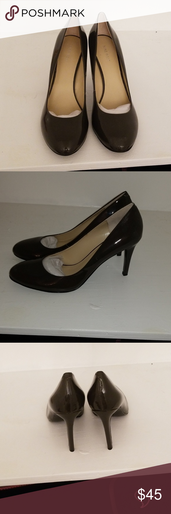 Nine West Pumps New In Box Never Worn Dark Grey Patent Leather Pumps Size 12 Nine West Shoes Heels Shoes Women Heels Pumps Patent Leather Pumps