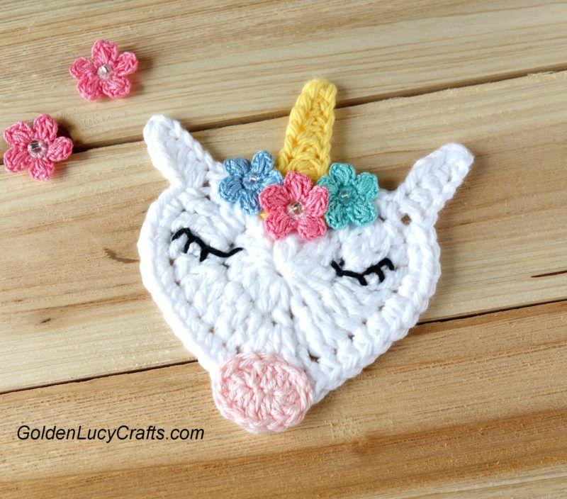 Crochet Unicorn Applique   titeres   Pinterest   Unicornio, Apliques ...