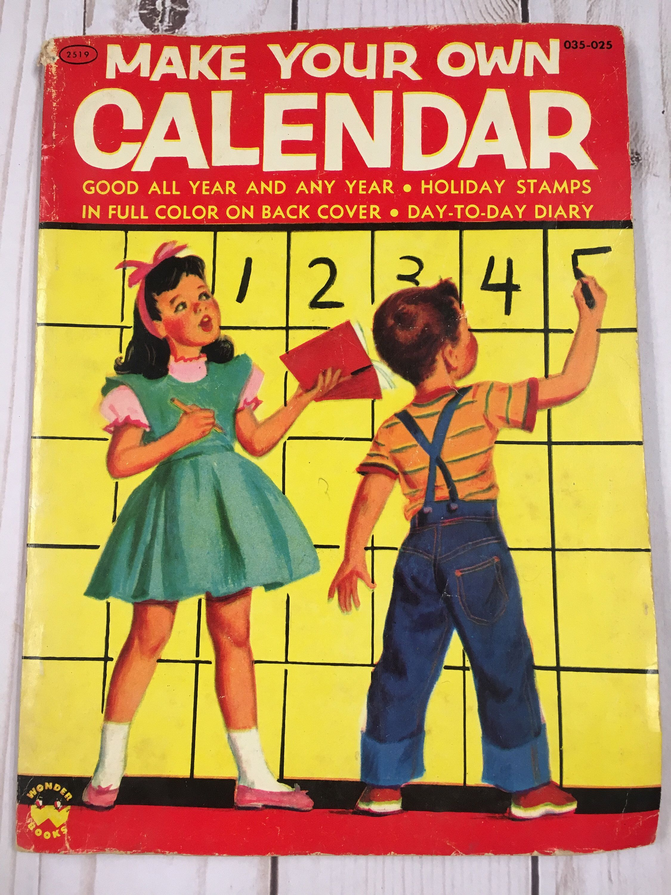 2 Vintage Children S Books Make Your Own Calendar