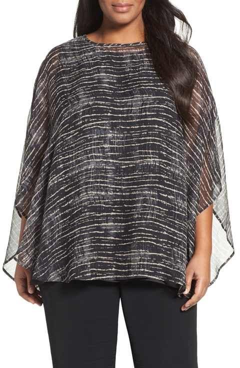 Eileen Fisher Streaky Plaid Crinkled Silk Poncho (Plus Size)