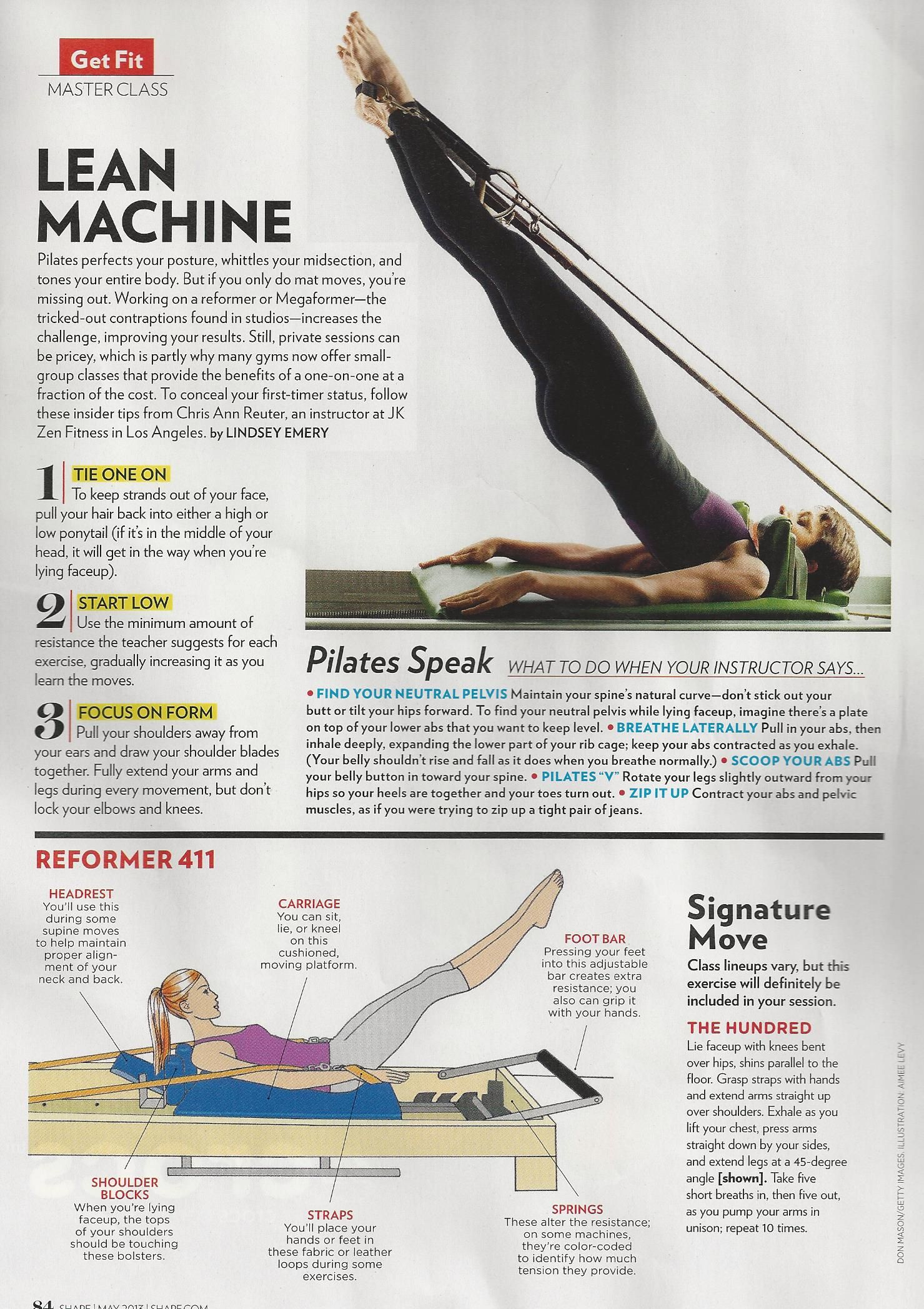 The 411 on Pilates reformers from Shape magazine featuring tips from Chris Ann Reuter of JK Zen Fitness in Los Angeles. www.Shape.com