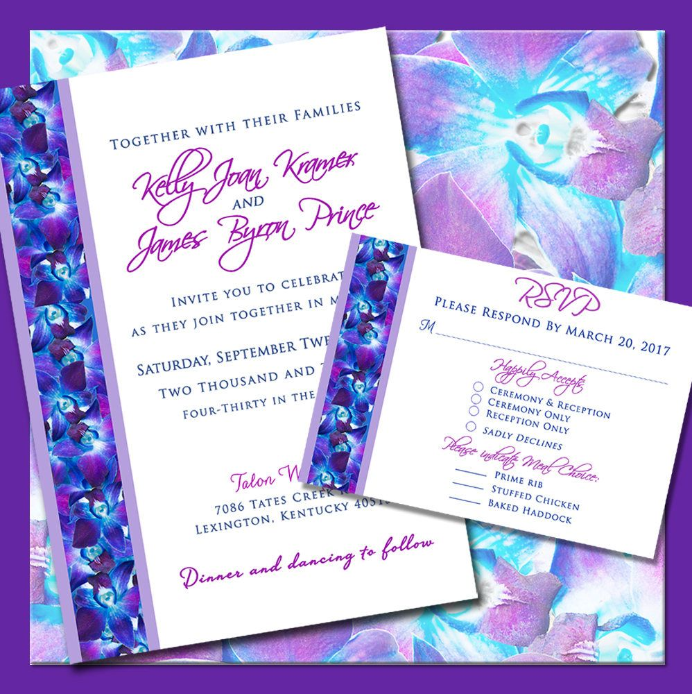 Purple Orchid Design Wedding Invitations Floral Wedding