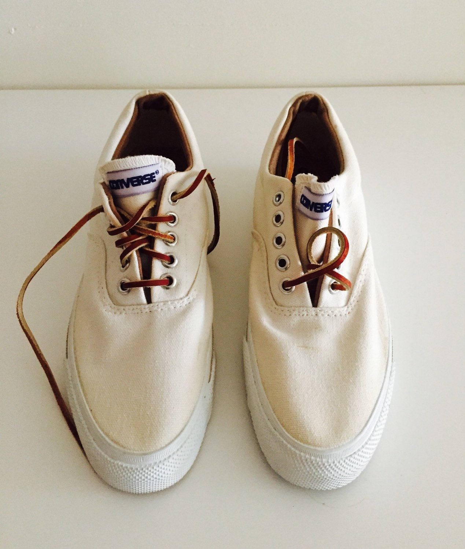 Vintage 80s Converse Skid Grip Canvas Shoes Tennis Leather