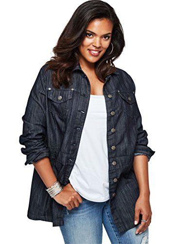 3d20632a25c Roamans Women s Plus Size Long Jean Jacket Black Blue Denim