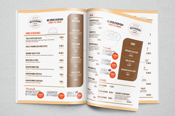 Restaurant Menu Template By Everydaytemplate On Creative Market