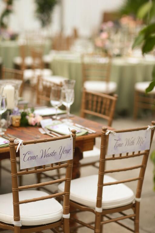 4ab0d854344 Phish song lyrics on wedding chars from S J s weddind featured by Rustic  Wedding Chic