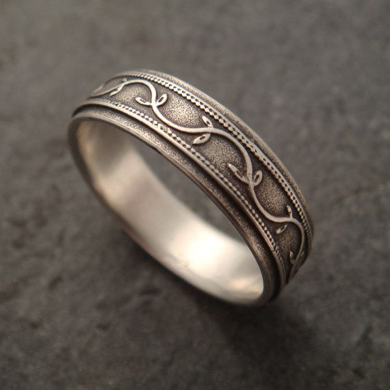 Silver Vine Wedding Band By Downtothewiredesigns On Etsy 125 00