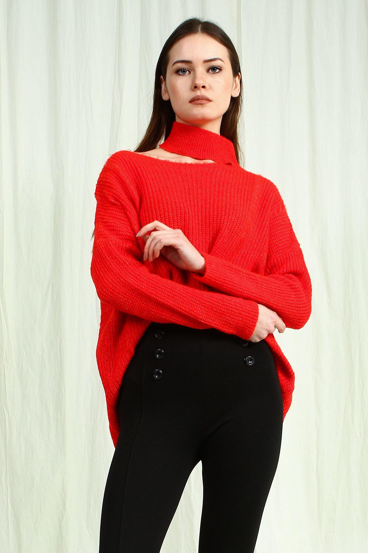 Kadin Kirmizi Regular Yarim Bogazli Kazak Kazak Modelleri Bayan Kazak Kombinleri Triko Kazak Triko Kazak Modelleri Kadin Kaza 2020 Kadin Bogazli Kazak Triko