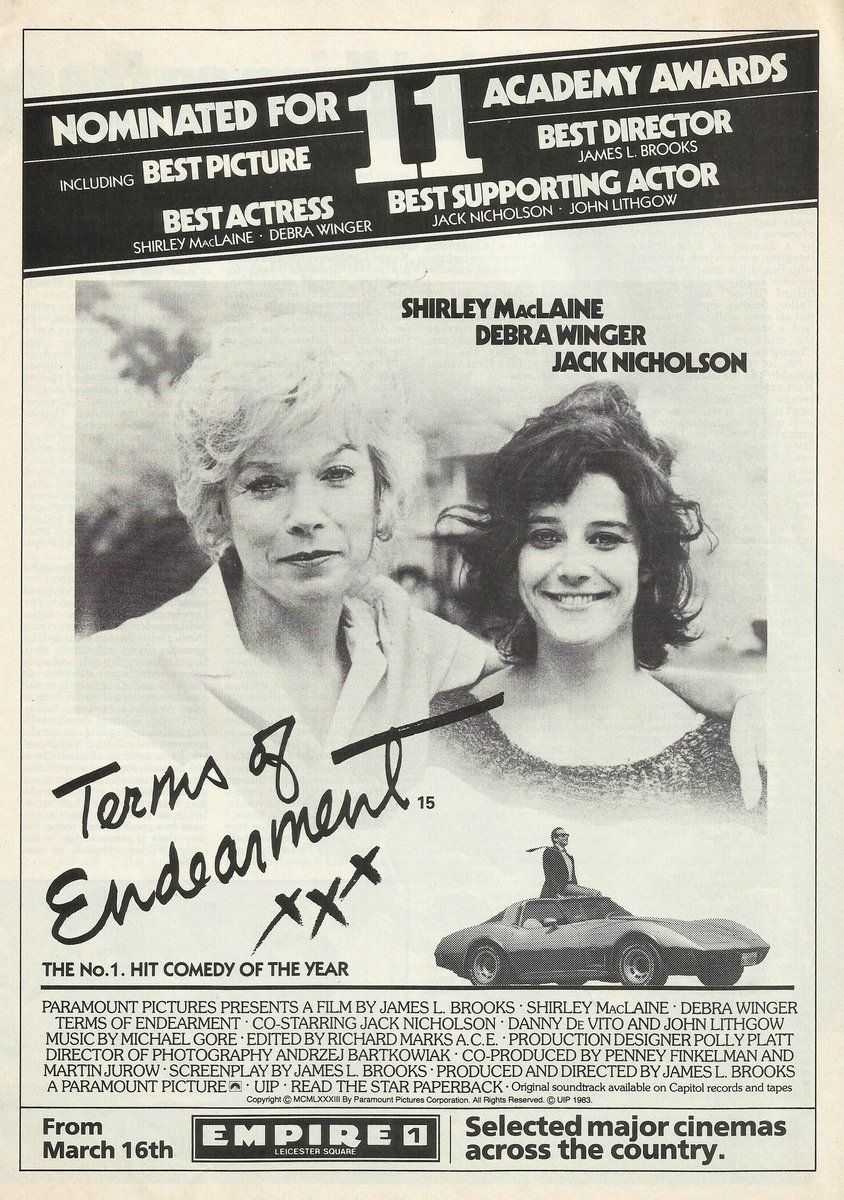 Shirley MacLaine Debra Winger & Jack Nicholson in Terms Of