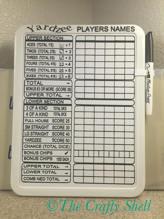 Yardzee Score Card Made With A X Inch Dry Erase Board And