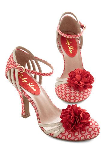 Flowery Flamenco Heel - Mid, Woven, Coral, Tan / Cream, Print, Flower, Prom, Wedding, Party, Darling, Better, Strappy